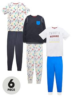 v-by-very-boys-im-not-a-morning-person-pj-set-6-piece