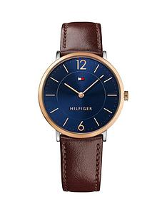 tommy-hilfiger-tommy-hilfiger-ultra-slim-blue-dial-rose-tone-case-brown-leather-straop-mens-watch