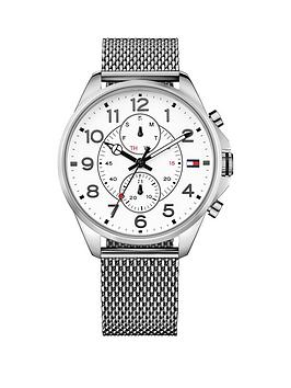 Tommy Hilfiger Tommy Hilfiger White Dial Multifunction Dial Stainless Steel Mesh Bracelet Mens Watch