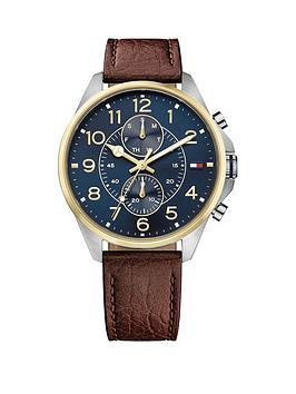 Tommy Hilfiger Tommy Hilfiger Dean Blue Multidial Function Brown Leather Strap Mens Watch