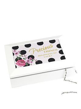 Personalised Floral Polka Dot Jewellery Box
