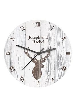 Very Personalised Stag Wooden Clock Picture