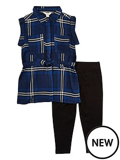 river-island-mini-girls-blue-check-shirt-and-leggings-set