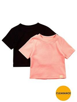 river-island-mini-girls-ribbed-t-shirts-2-pack