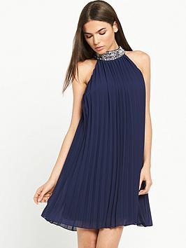 tfnc-embellished-pleated-swing-dress-navy