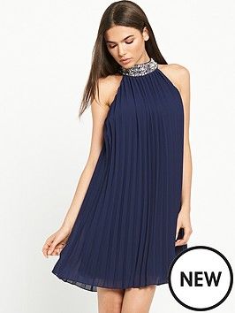 tfnc-embellished-pleated-swing-dress-navy