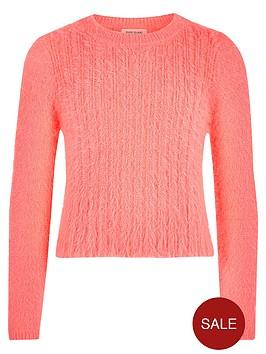 river-island-girls-coral-fluffy-knit-jumper