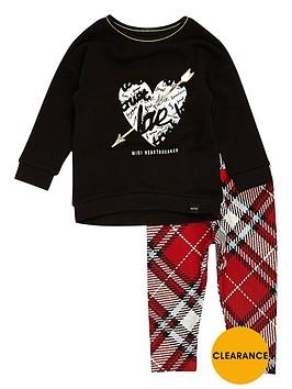 river-island-mini-girls-black-top-and-tartan-leggings-set