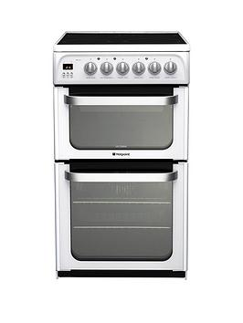 Hotpoint Ultima Hue52Ps 50Cm Double Oven Electric Cooker With Ceramic Hob  White