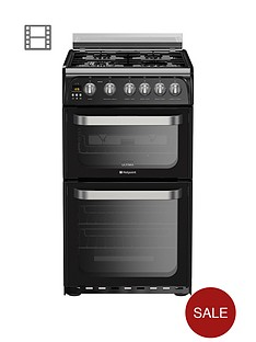 hotpoint-ultima-hug52k-50cm-double-oven-gas-cooker-with-fsdnbsp--black