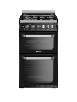 Hotpoint Ultima Hug52K 50Cm Double Oven Gas Cooker With Fsd  Black