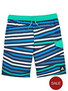 adidas-older-boys-stripe-swim-short