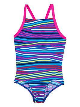 Adidas Older Girls Stripe Swimsuit