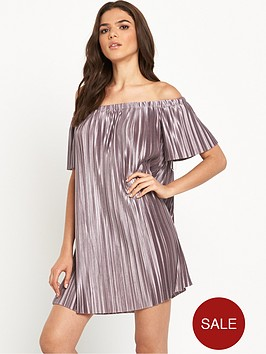 glamorous-bardot-pleated-swing-dress