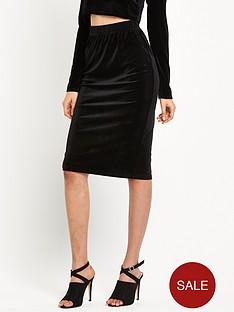 glamorous-velvet-bodycon-midi-skirt-black