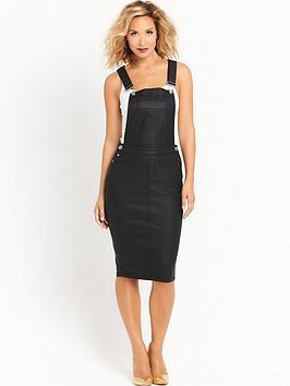 Myleene Klass Coated Dungaree Dress  Black