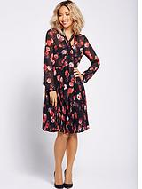 Pussybow Tie Pleated Dress - Floral Print
