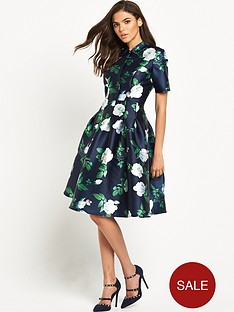 chi-chi-london-chi-chi-london-rose-print-button-up-collar-prom-dress