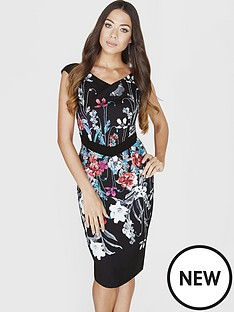 little-mistress-little-mistress-bouquet-print-bodycon-dress
