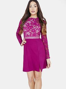 little-mistress-little-mistress-raspberry-lace-panel-shift-dress