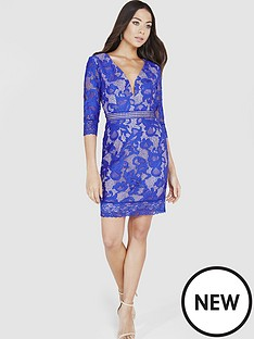 little-mistress-little-mistress-lace-v-neck-mini-dress