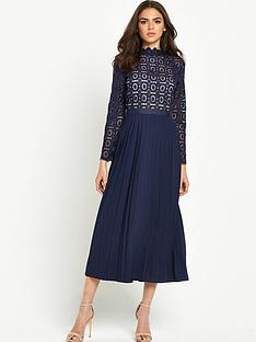 little-mistress-little-mistress-high-neck-lace-top-pleated-dress