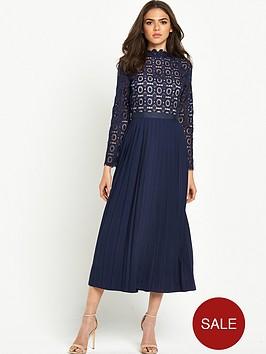 little-mistress-little-mistress-high-neck-lace-top-pleated-dress
