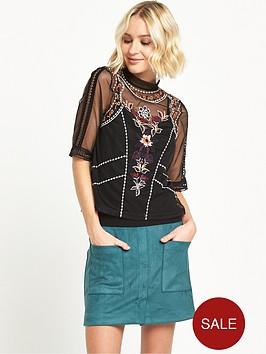 river-island-short-sleeved-embroidered-t-shirt-black