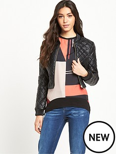 river-island-leather-look-quilted-bomber-jacket
