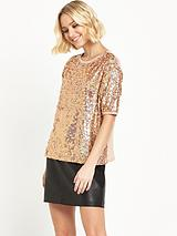 River Island Short Sleeved Boxy Sequin Top