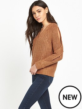 river-island-river-island-cold-shoulder-chunky-v-neck-jumper