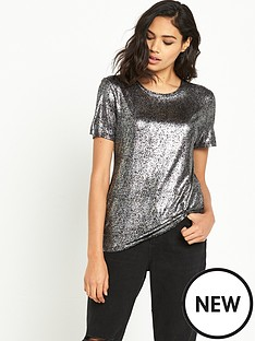 river-island-river-island-short-sleeved-foil-fitted-tee
