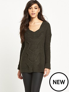river-island-khaki-cable-knit-jumper