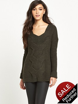 river-island-khaki-cable-knit-jumper