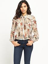 Tie Neck Floral Frill Blouse
