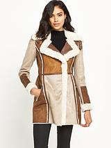 Faux Shearling Suedette Coat