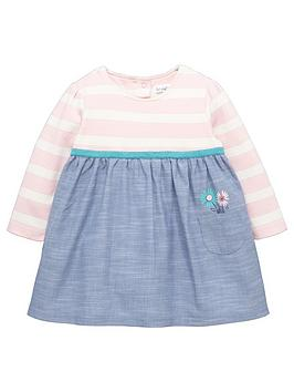ladybird-baby-girls-long-sleeve-stripe-and-chambray-dress