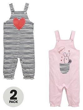 Ladybird Baby Girls Stripe And Bunny Dungarees (2 Pack)