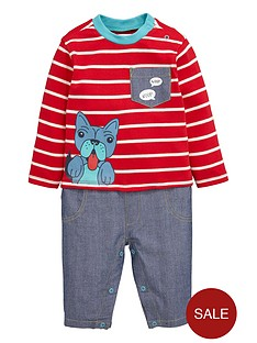 ladybird-baby-boys-pug-chambray-mix-romper