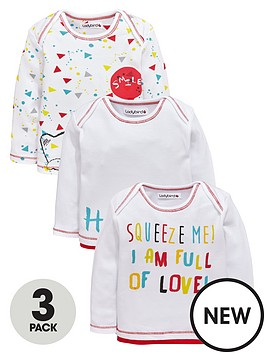 ladybird-baby-unisex-bear-and-slogan-long-sleeve-t-shirts-3-pack