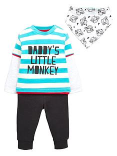 ladybird-baby-boys-long-sleeve-monkey-t-shirt-joggers-and-bib-set-3-piece