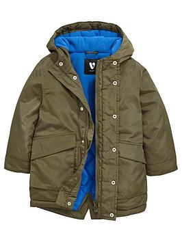 Mini V By Very Boys Khaki Longline Parka Jacket