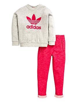 Adidas Originals Baby Girls Logo Tee And Shorts Set