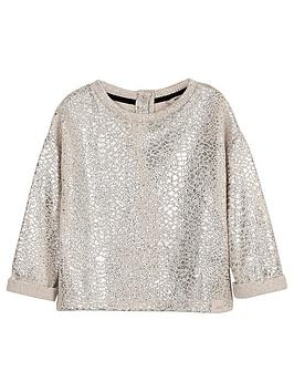 river-island-mini-girls-cream-foil-slouch-sweatshirt