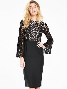 V By Very Lace Top Midi Dress  Black