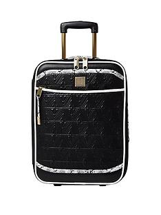 river-island-black-quilted-snake-print-2-wheel-cabin-case