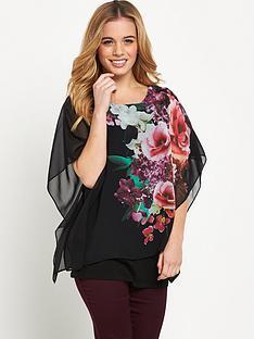 wallis-petite-floral-overlayer-top