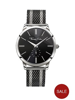 thomas-sabo-rebel-spirit-black-dial-black-striped-mesh-bracelet-mens-watch