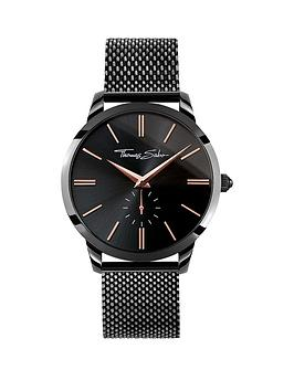 thomas-sabo-black-dial-rose-detail-black-mesh-bracelet-mens-watch