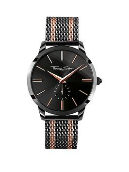 thomas-sabo-rebel-spirit-black-dial-rose-accent-rose-tone-striped-mesh-bracelet-mens-watch